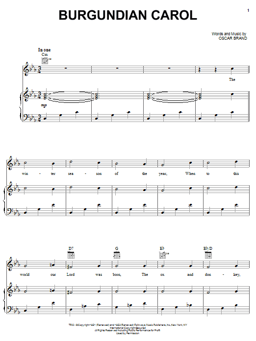 Burgundian Carol (Piano, Vocal & Guitar (Right-Hand Melody))