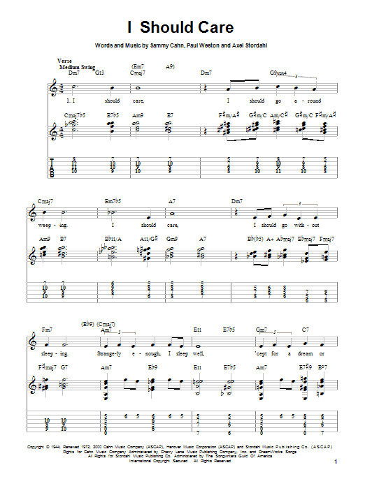 I Should Care (Easy Guitar Tab)