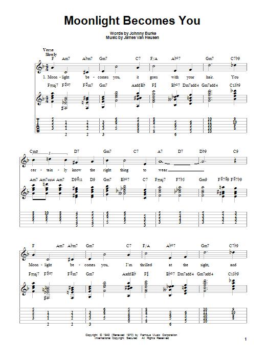 Tablature guitare Moonlight Becomes You de Bing Crosby - Tablature guitare facile