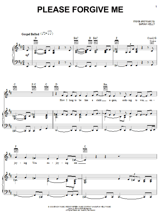 Please Forgive Me (Piano, Vocal & Guitar (Right-Hand Melody))