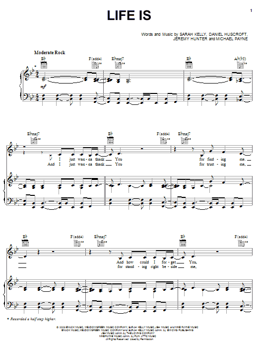 Life Is (Piano, Vocal & Guitar (Right-Hand Melody))