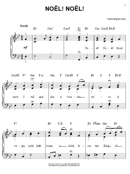 Partition piano Noel! Noel! de Christmas Carol - Piano Facile