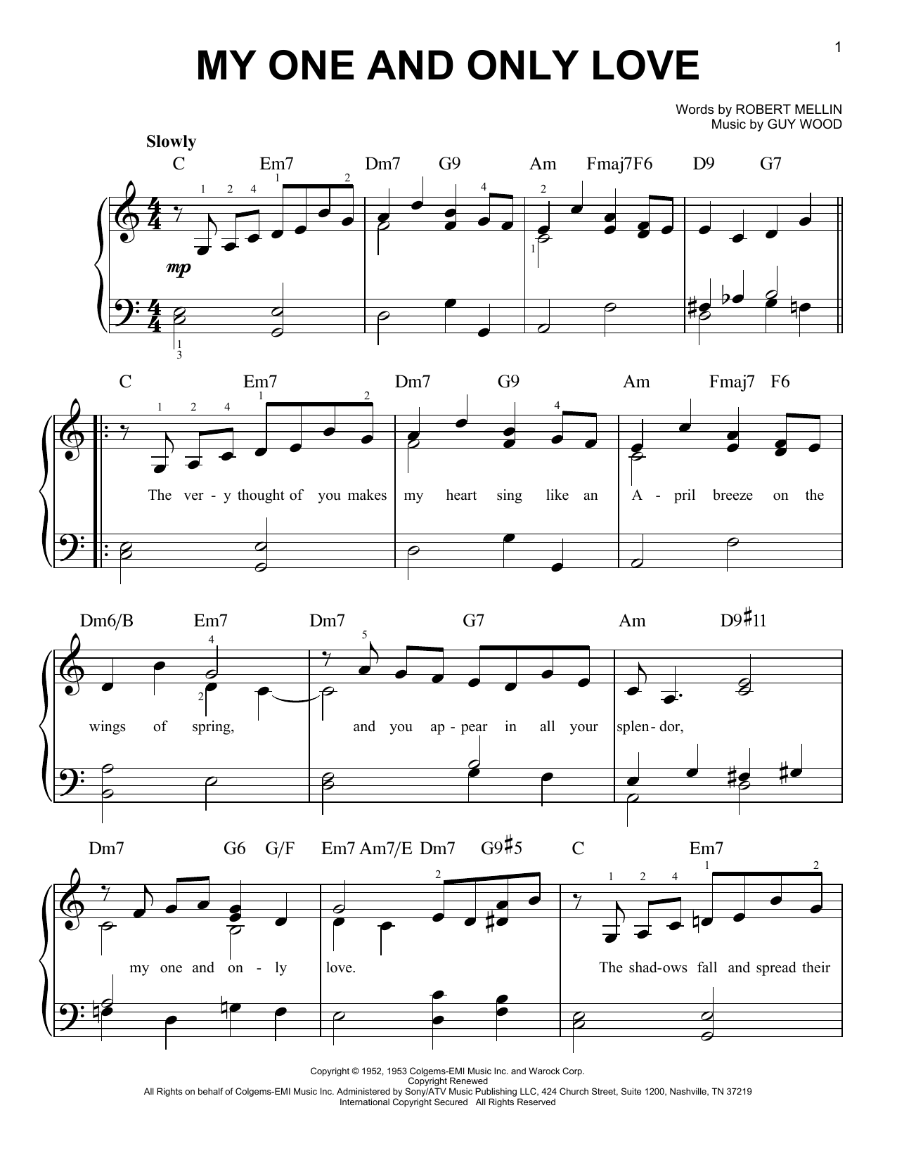 Partition piano My One And Only Love de Louis Armstrong - Piano Facile