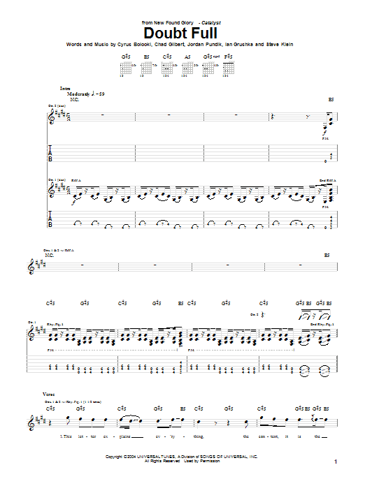 Tablature guitare Doubt Full de New Found Glory - Tablature Guitare