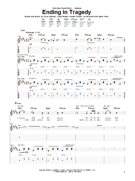 Tablature guitare Ending In Tragedy de New Found Glory - Tablature Guitare