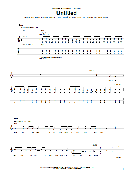 Tablature guitare Untitled de New Found Glory - Tablature Guitare