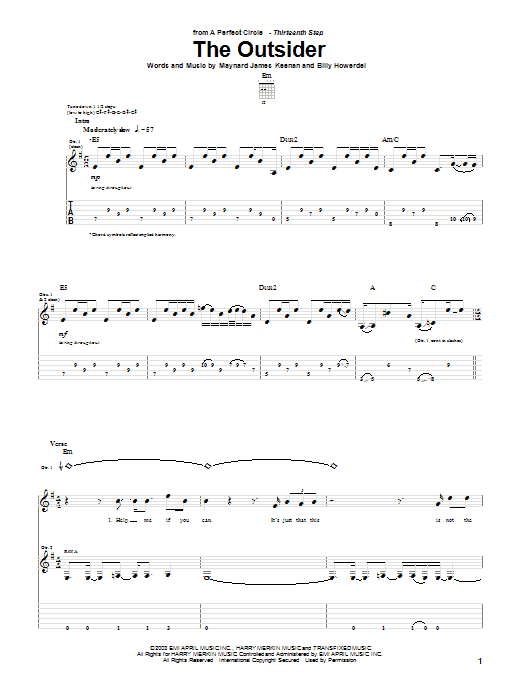 The Outsider (Guitar Tab)