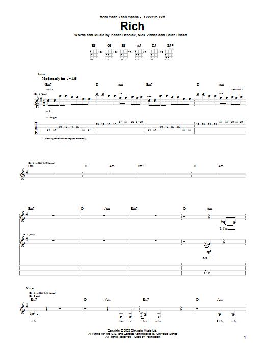 Tablature guitare Rich de Yeah Yeah Yeahs - Tablature Guitare