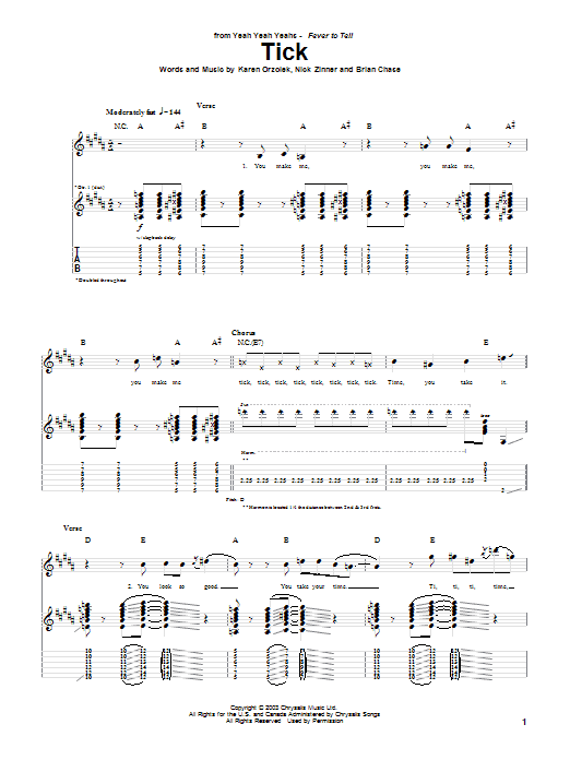 Tick Sheet Music