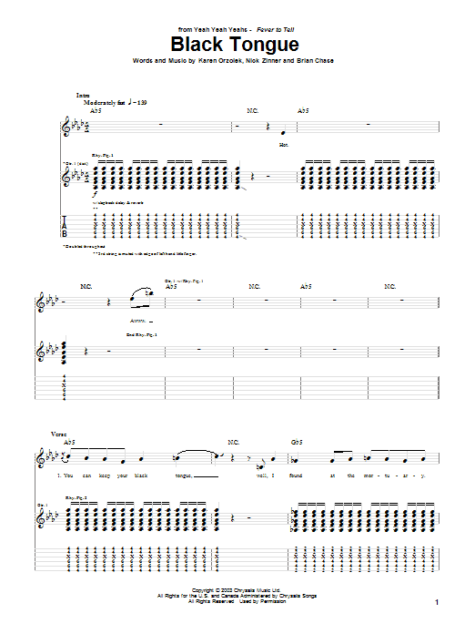 Tablature guitare Black Tongue de Yeah Yeah Yeahs - Tablature Guitare