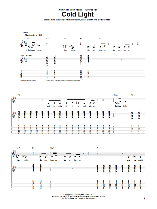 Cold Light Sheet Music