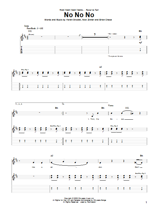 Tablature guitare No No No de Yeah Yeah Yeahs - Tablature Guitare