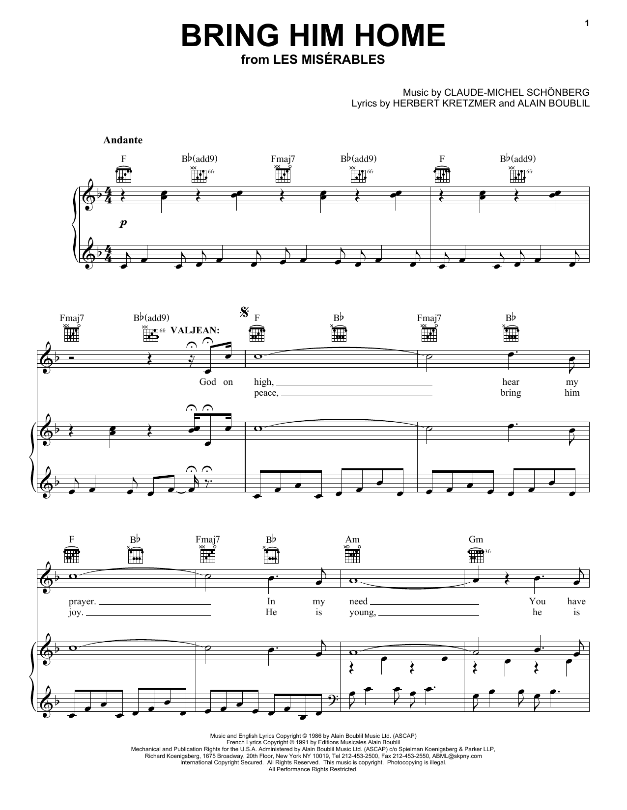 Bring Him Home (from Les Miserables) (Piano, Vocal & Guitar (Right-Hand Melody))