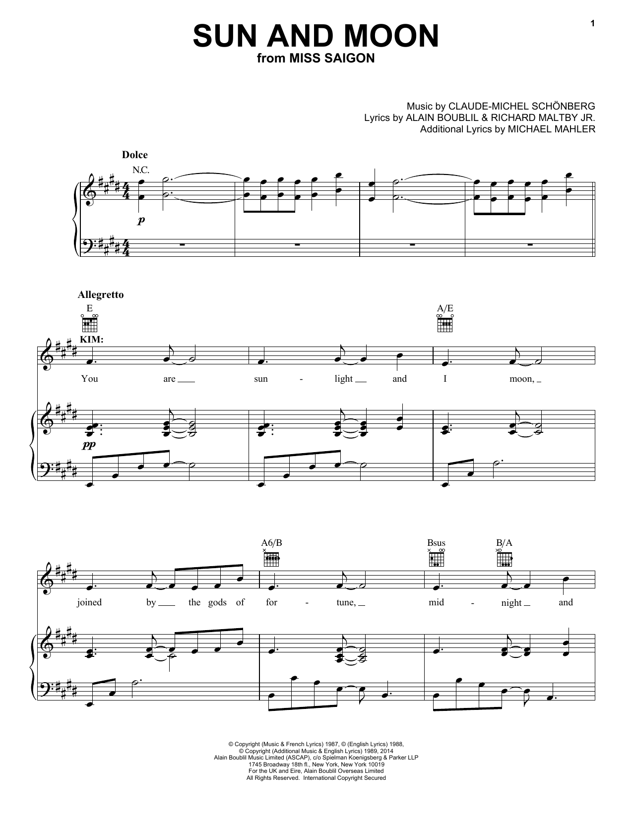 Sun And Moon (Piano, Vocal & Guitar (Right-Hand Melody))