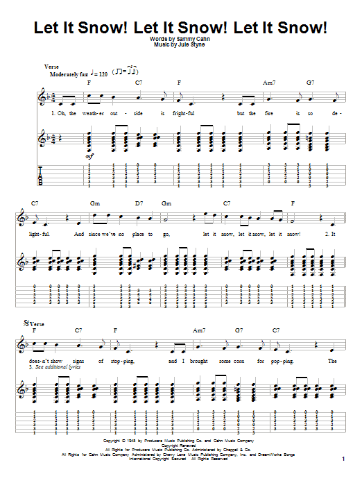 Tablature guitare Let It Snow! Let It Snow! Let It Snow! de Sammy Cahn - Autre