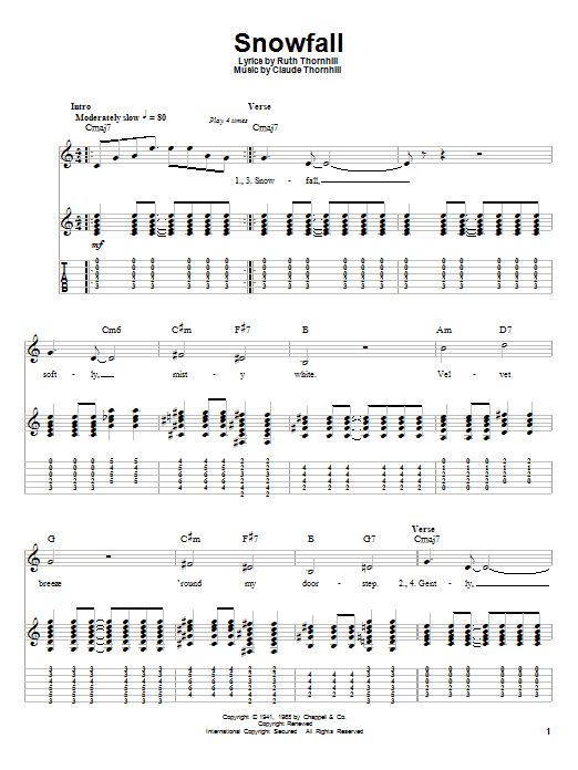 Snowfall (Guitar Tab (Single Guitar))