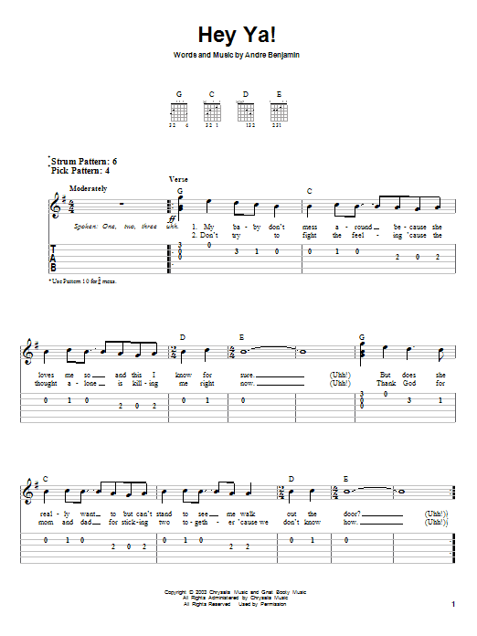 Hey Ya By Outkast Easy Guitar Tab Guitar Instructor