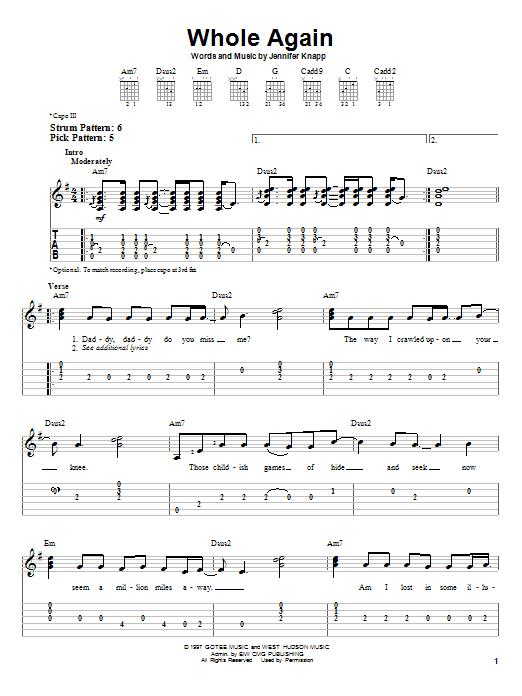Whole Again (Easy Guitar Tab)