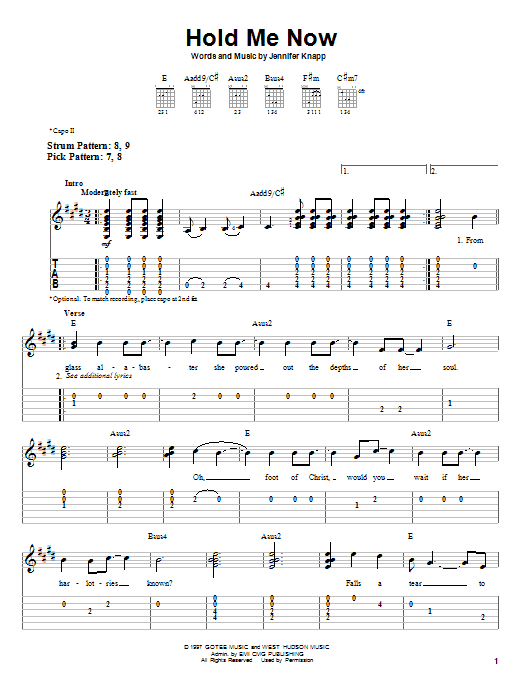 Hold Me Now (Easy Guitar Tab)