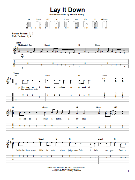 Lay It Down (Easy Guitar Tab)