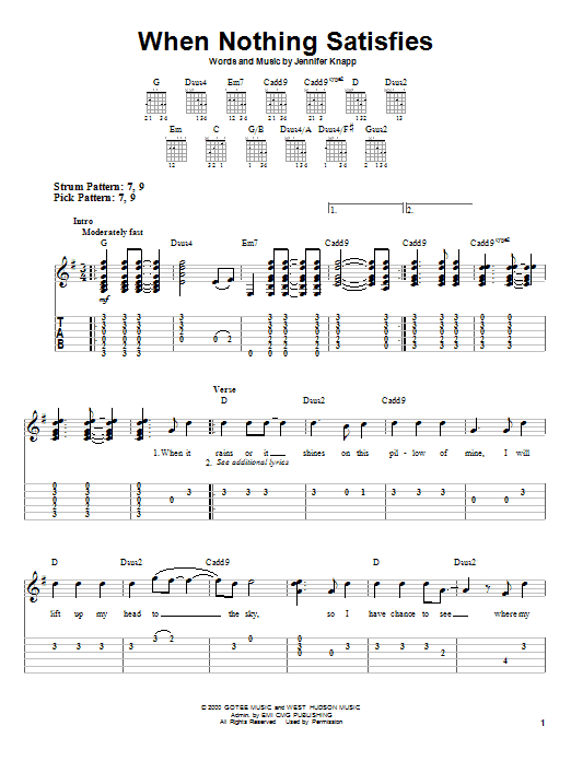 When Nothing Satisfies (Easy Guitar Tab)