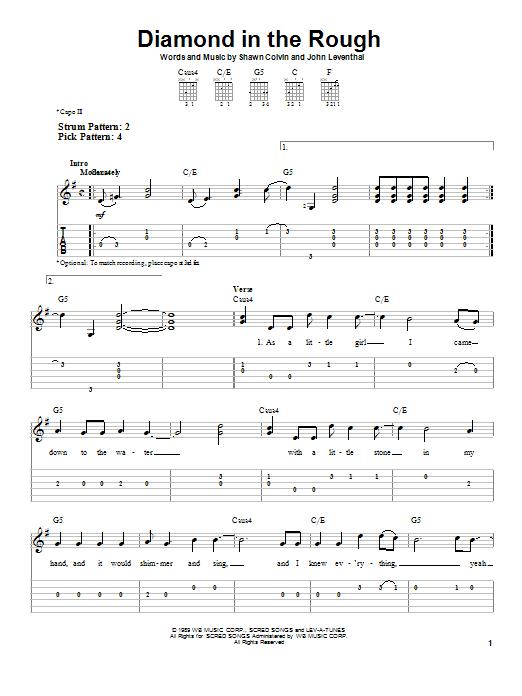 Diamond In The Rough (Easy Guitar Tab)