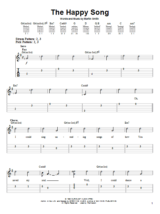 The Happy Song By Delirious Easy Guitar Tab Guitar Instructor