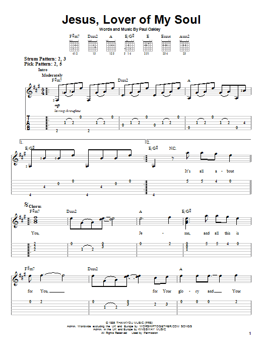 Jesus, Lover Of My Soul (Easy Guitar Tab)