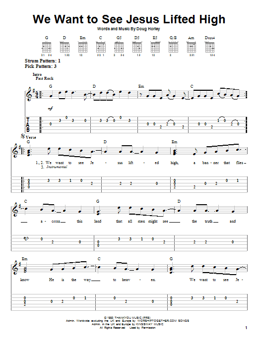 We Want To See Jesus Lifted High (Easy Guitar Tab)