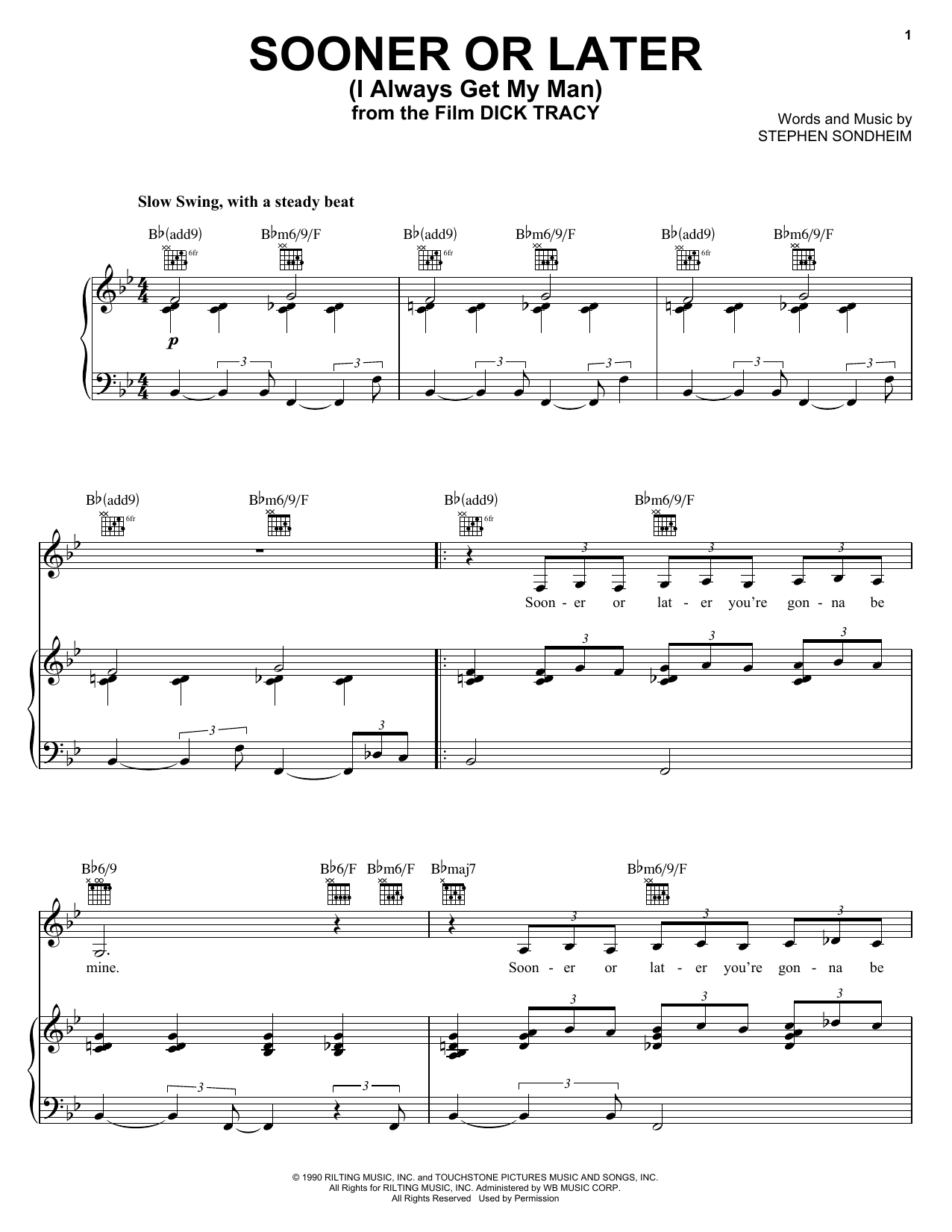 Sooner Or Later (I Always Get My Man) (from Dick Tracy) Sheet Music