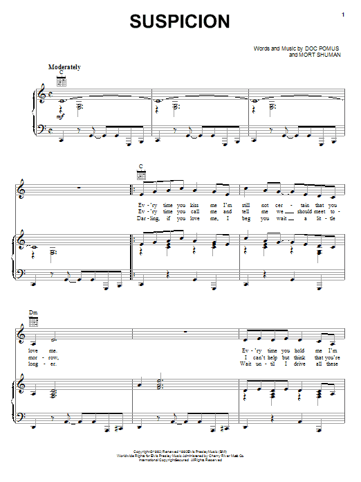 Partition piano Suspicion de Terry Stafford - Piano Voix Guitare (Mélodie Main Droite)