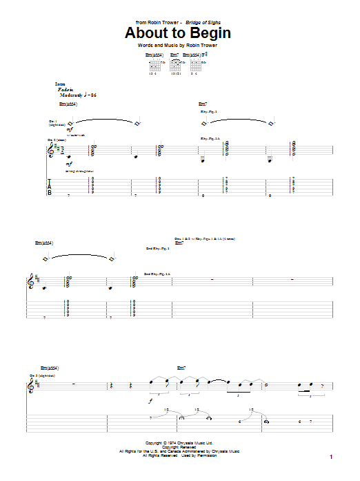 Tablature guitare About To Begin de Robin Trower - Tablature Guitare