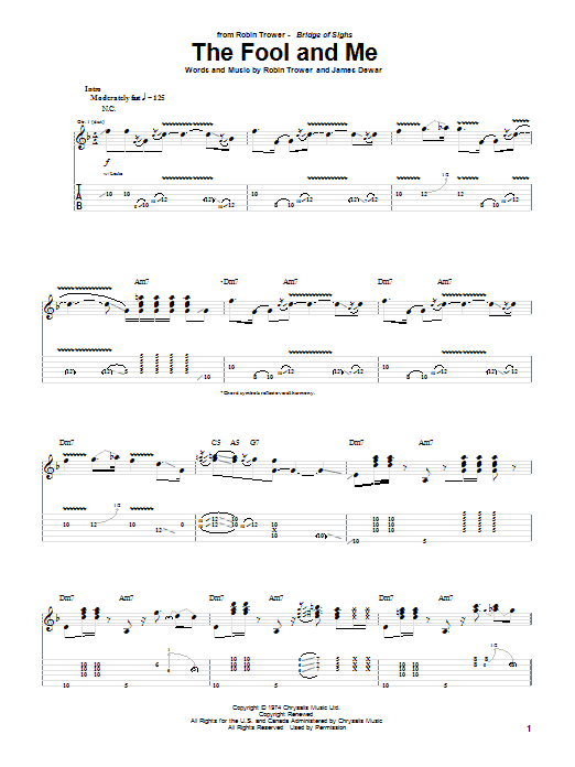 Tablature guitare The Fool And Me de Robin Trower - Tablature Guitare