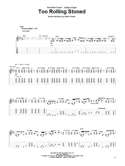 Too Rolling Stoned (Guitar Tab)