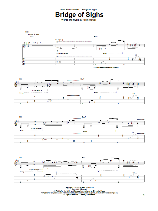Tablature guitare Bridge Of Sighs de Robin Trower - Tablature Guitare
