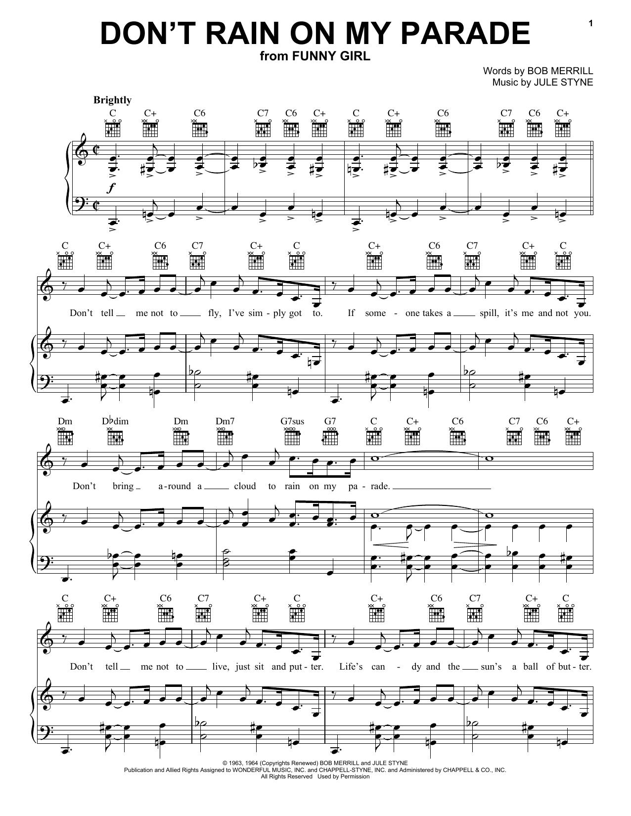 Don't Rain On My Parade Sheet Music