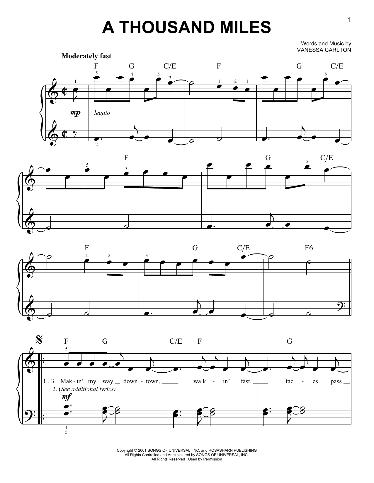 A Thousand Miles sheet music by Vanessa Carlton (Easy Piano – 29392)
