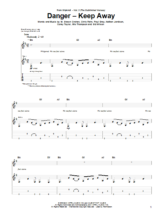 Tablature guitare Danger - Keep Away de Slipknot - Tablature Guitare