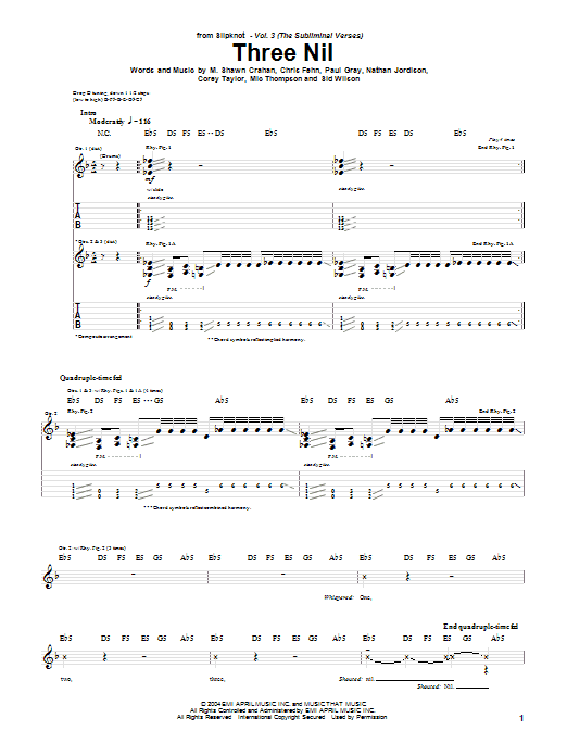 Tablature guitare Three Nil de Slipknot - Tablature Guitare