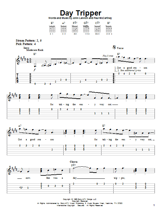 Day Tripper By The Beatles Easy Guitar Tab Guitar Instructor