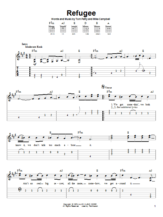 Refugee (Easy Guitar Tab)