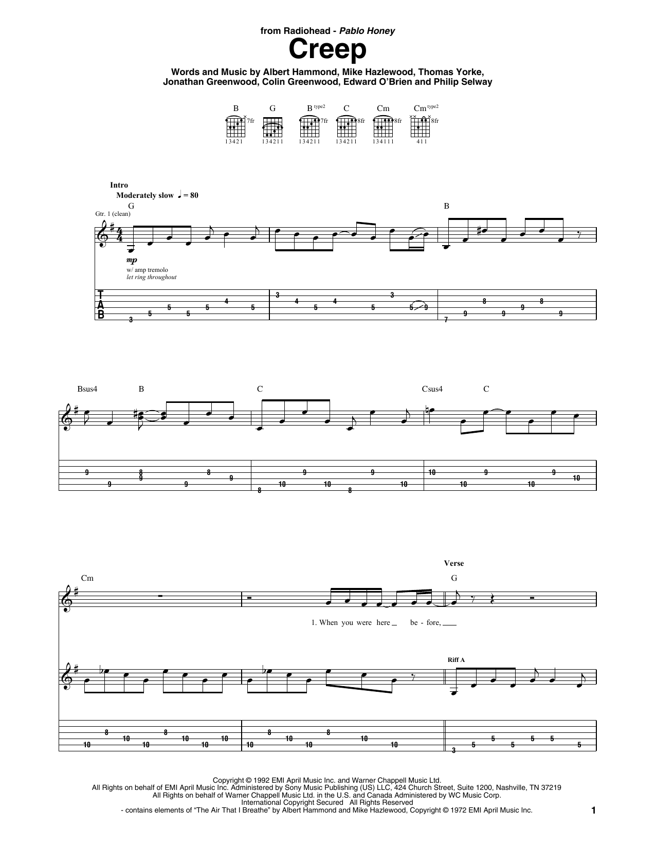 Creep | Radiohead | Guitar Tab