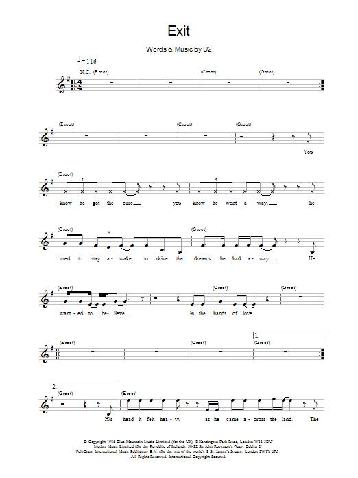 Exit Sheet Music U2 Melody Line Lyrics Chords