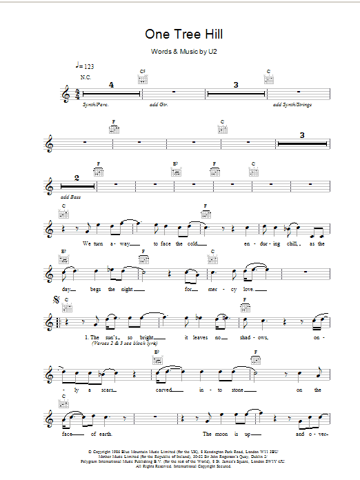 U2 One Tree Hill At Stantons Sheet Music