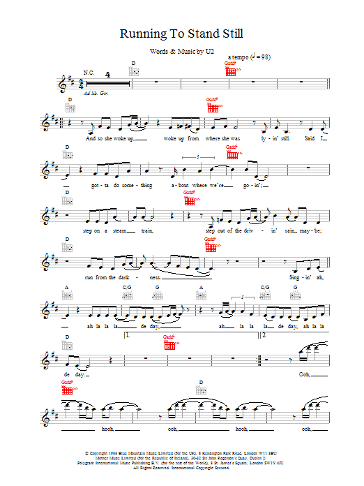 Running To Stand Still Sheet Music U2 Melody Line Lyrics Chords