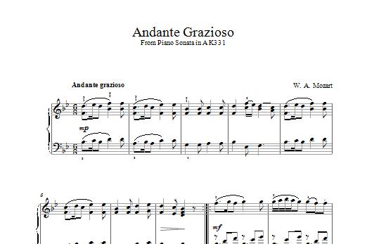 Andante Grazioso (theme from Piano Sonata In A, K331) Sheet Music