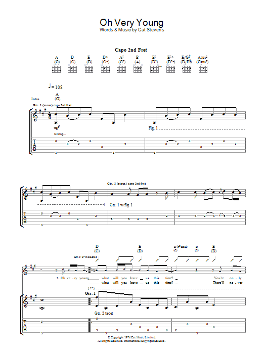 Oh Very Young (Guitar Tab)