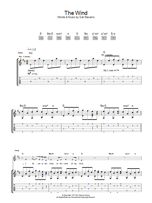 The Wind (Guitar Tab)