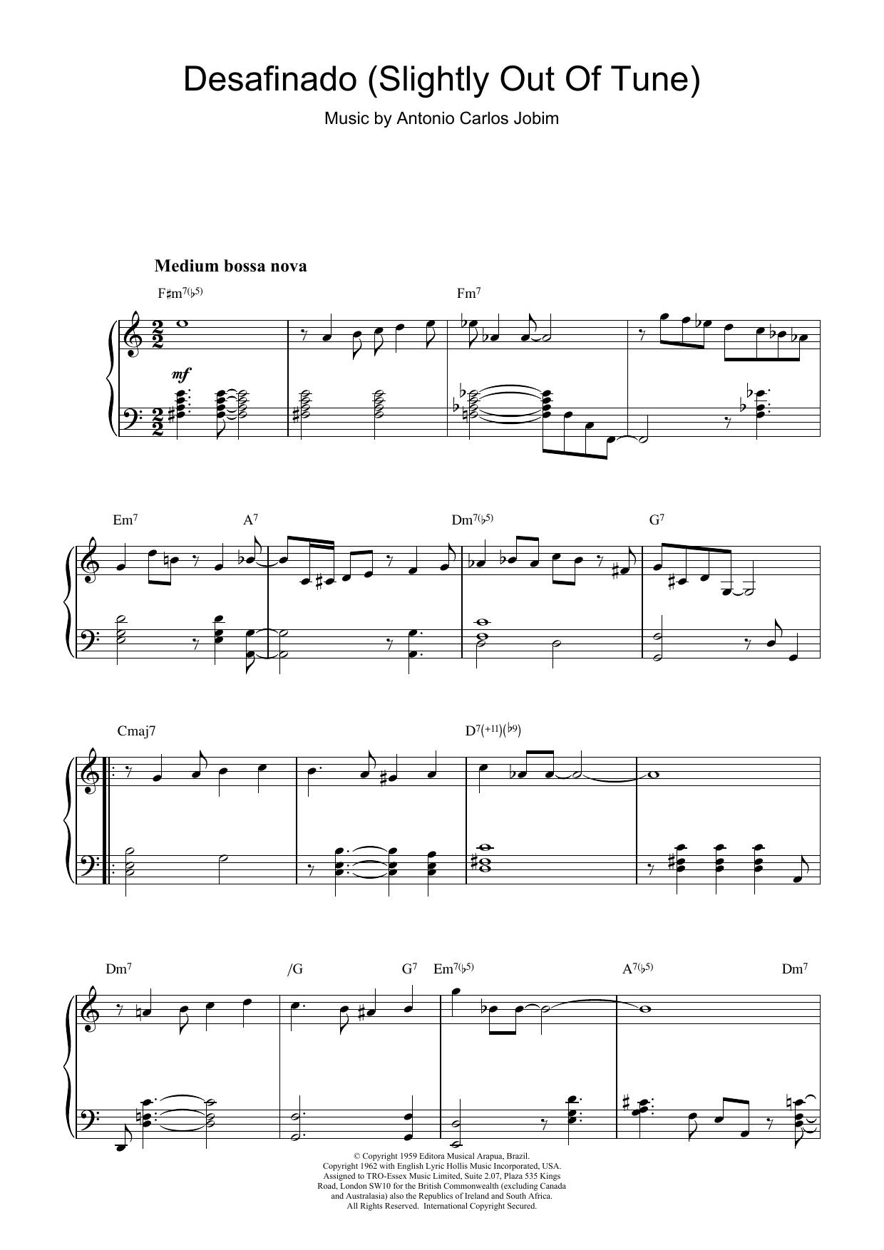 Desafinado (Slightly Out Of Tune) (Piano Solo)