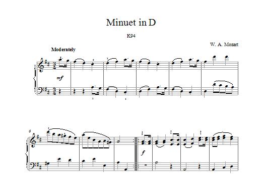 Minuet in D K94 Sheet Music